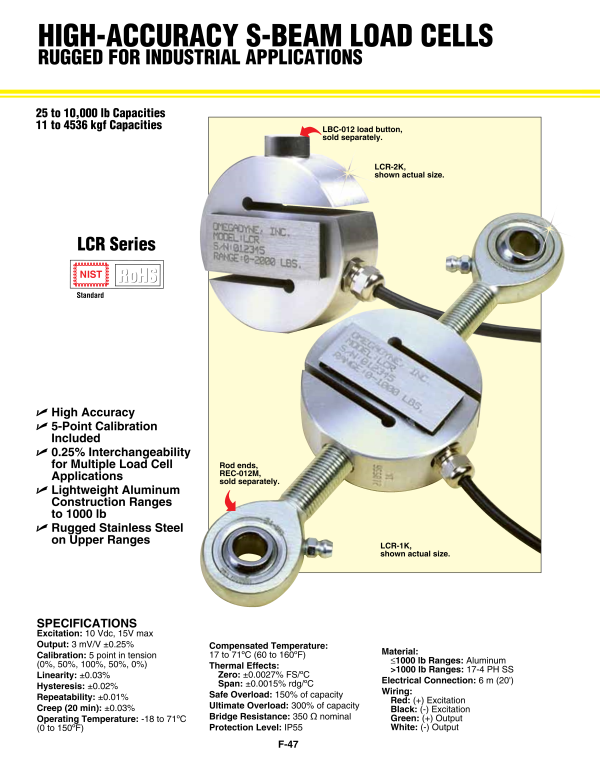 Lcr Series Load Cell S Beam Load Cells Omega Engineering Inc